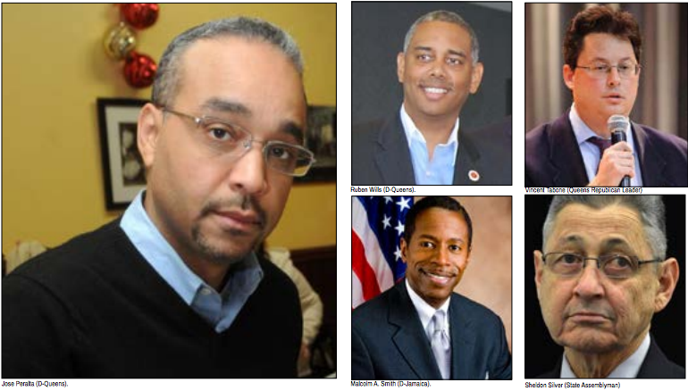 Dan Holloran (R-Queens), Ruben Wills (D-Queens), Vincent Tabone (Queens Republican Leader), Malcolm A. Smith (D-Jamaica), Sheldon Silver (State Assemblyman) are all among the NYC political leaders under scrutiny for crime committed while in office.